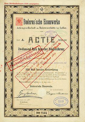 Buderus'sche Eisenwerke AG hist Gründeraktie 1884 Lollar Gießen Wetzlar Hessen