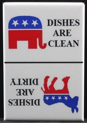 Democrat & Republican CLEAN / DIRTY Sign - Dishwasher Magnet.  Election GOP