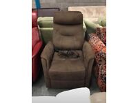 Brown fabric rock swivel and recliner chair