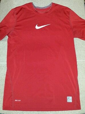 Nike Pro fitted large 14 - 16 red dri-fit short sleeve compression shirt