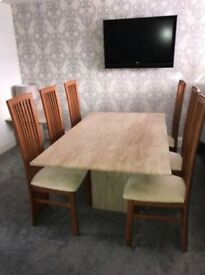 Travertine dining table & 8 chairs with coffee table