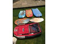 Various body (3) boards and skimmer(2) boards plus carry bag - fun for all the family.