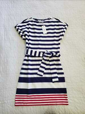 NEW WOMEN'S XXS VINEYARD VINES UPF SEA STRIPED TIE FRONT KNIT DRESS Front Knit Dress