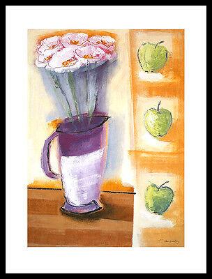 Francoise Conzales Flowers and Apples Poster Bild Kunstdruck & Alurahmen 80x60cm