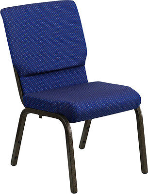 18.5 Wide Navy Blue Patterned Fabric Stacking Church Chair - Gold Vein Frame