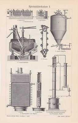 Spiritusherstellung Destillation Alkohol HOLZSTICH von 1910 Vormaischbottich