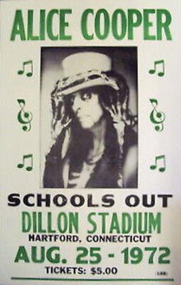 "Alice Cooper Concert Poster - 1972 School's Out Tour - Dillon Stadium - 14""x22"""