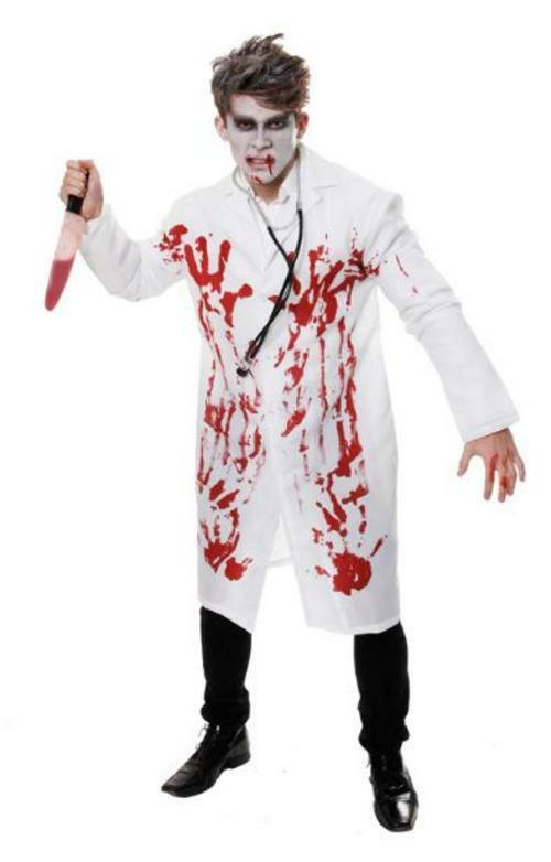 3c56404f41da7 Adult Mens Bloody Dead Zombie Doctor Halloween Horror Fancy Dress Costume  Outfit