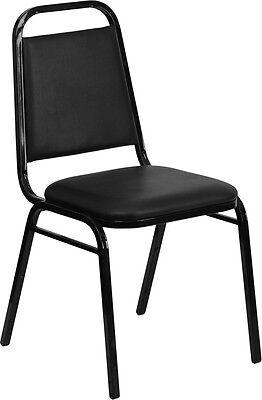 Banquet Chairs Black Vinyl Restaurant Chair Trapezoidal Back Stackable