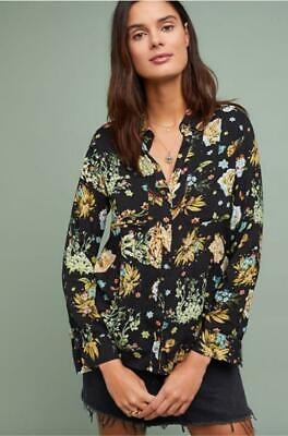 Anthropologie Maeve Sz 6 Whimsy Buttondown Blouse Multicolor Floral Bunnies New