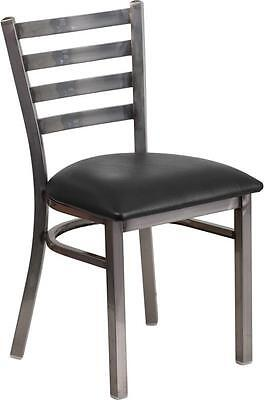 Lot Of 20 Clear Coated Ladder Back Metal Restaurant Chair-black Vinyl Seat