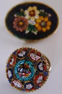 Vintage TWO Italian Micro Mosaic Pin-C Clasp & Ring ROMA--Beauti