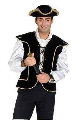 PIRATENKOSTÜM WESTE schwarz JACKE HUT Dreispitz Piratenhut Kostüm Pirat 50/52