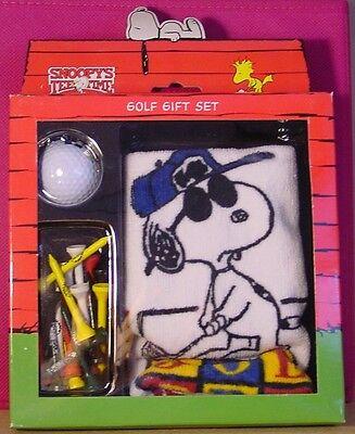Snoopy Peanuts JOE PRO golf towel ball tee gift set NEW IN BOX