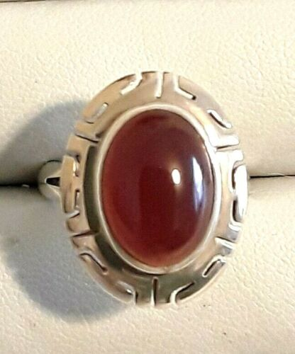 Mexican Sterling Carnelian Oval Stone Cut-Out Ring Size 6.5