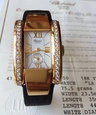 Chopard La Strada 18k Yellow Gold Diamond 23mm Ladies Watch Box/Papers 842260
