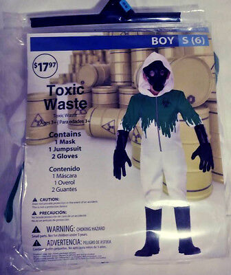 TOXIC WASTE HALLOWEEN COSTUME BOY SMALL (6) 1 MASK 1 JUMPSUIT 2 GLOVES FREE - Toxic Maske Kostüm