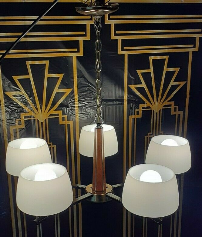 Vtg Retro MCM Danish Virden 5 Light Fixture Chandelier