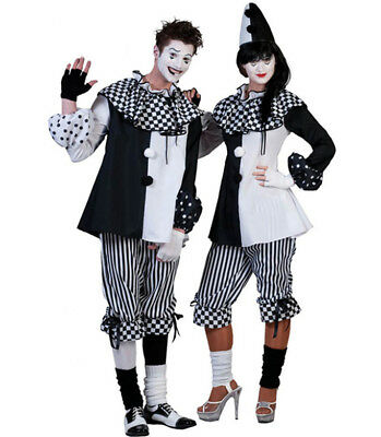 Creepy Scary Halloween Black & White Adult Mens Clown Costume outfit Medium - Scary Clown Halloween Costumes