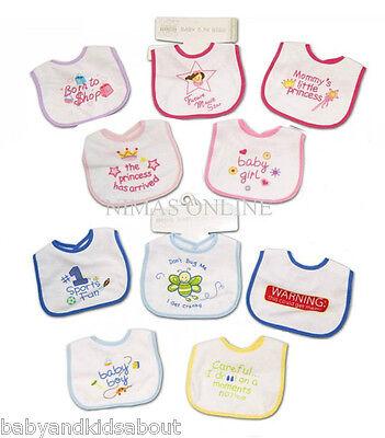 Pack of 5 BABY BIBS with Waterproof Backs