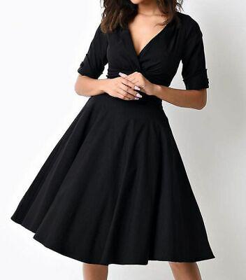 $275 Unique Vintage Womens Black Elbow-Sleeve V-Neck Fit & Flare Swing Dress 3XL