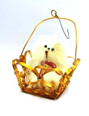 White Dog in Gold Bronze toned Basket Vintage 1960s Christmas Ornament Pet Vtg