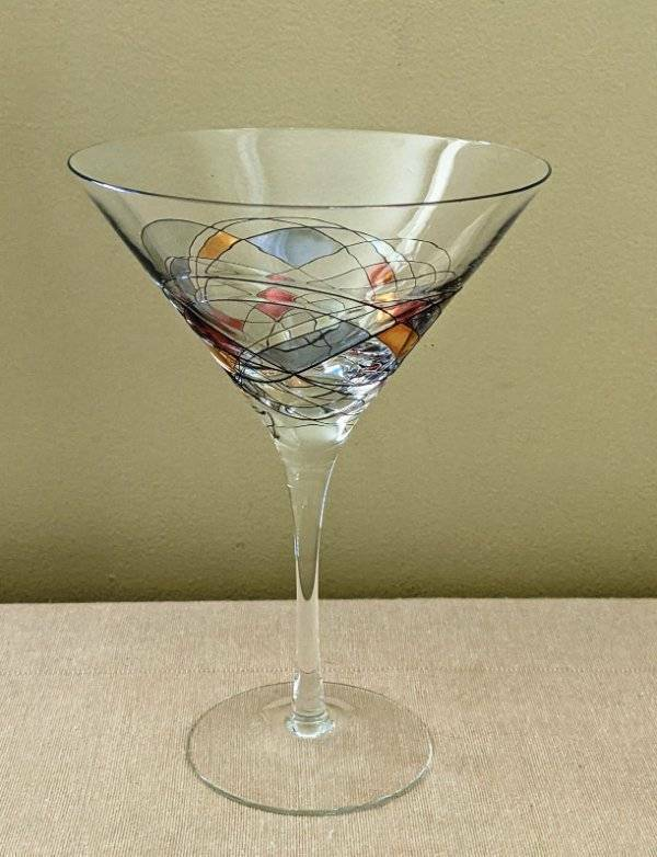 """Romania Milano Stained Glass Martini Stem Glasses 7-3/8"""" *7 Available"""