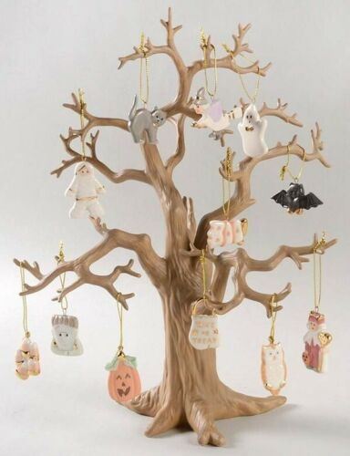 ORIGINAL Lenox Halloween Trick or Treat Tree, 12-Piece Ornament Set 24 k. NEW