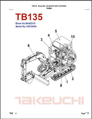 Takeuchi Tb135 Compact Excavator Parts Manual On A Cd - Tb 135