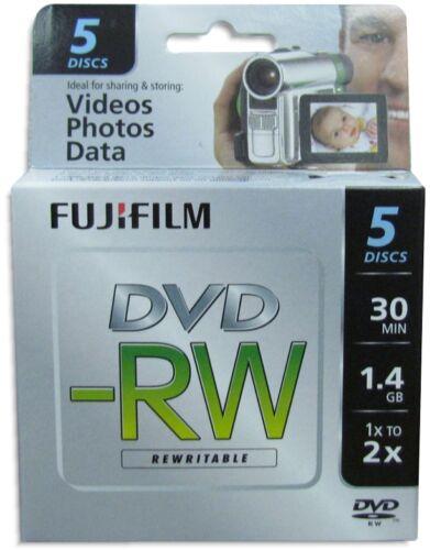 5-Pak FujiFilm 8cm Mini DVD-RW 1.4GB 30-Min in Mini Jewel Cases fits Sony/Canon