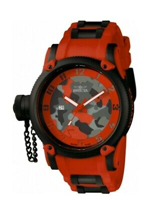 Invicta Men's 11334 Russian Diver Grey Red Camouflage Dial Polyurethane Watch