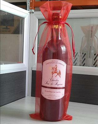 (10Pcs Sheer Organza Wine Bottle Gift Bags Cover For Party Wedding Favor US.)
