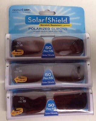 50 SOLAR SHIELD Clip-on Polarized Sunglasses 50 Rec 15 Brown Lens Full Frame