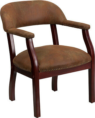 Brown Reception Guest Side Office Chair