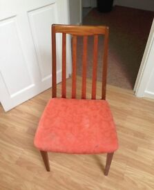 Wooden dining chair - retro, vintage, sixties, cushioned seat, curved back