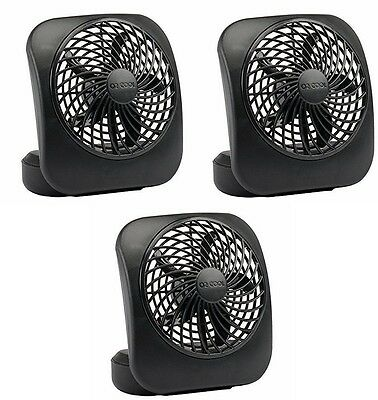 "(3) ea O2Cool FD05004BLK 5"" 2 Speed Black Battery Operated Portable Camping Fan"
