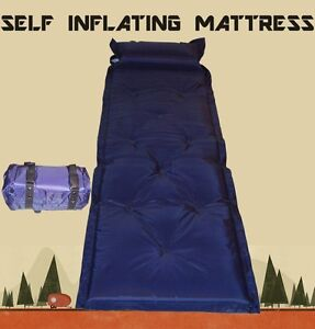 Self Inflating Mattress Camping Hiking Airbed Mat Sleeping with Pillow and Bag