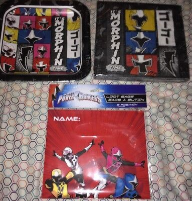 A Lot Of 3 - Power Rangers Party Supplies - Napkins - Paper Plates - Loot Bags ()