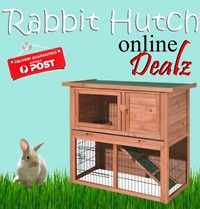 2 Storey Rabbit Hutch Chicken Coop Guinea Pig Ferret Cage Hen House 915*450*850