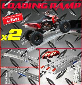 2 X FOLDING ALUMINIUM RAMPS ATV MOTORBIKE BUGGY LOADING RAMP 1000KG CAPACITY!