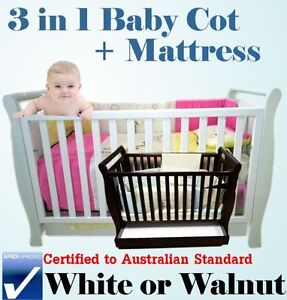 NEW-3-IN-1-BABY-SLEIGH-COT-WITH-DRAWER-TODDLER-RAIL-MATTRESS-AUS-CERTIFIED