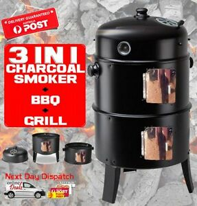 NEW 3in1 Charcoal Vertical Smoker BBQ Roaster Grill Portable Steel Steamer Water