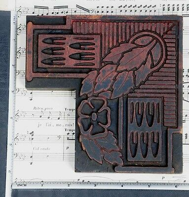 Rare Ornament Letterpress Wood Printing Block Rare Art Nouveau Printer Antique