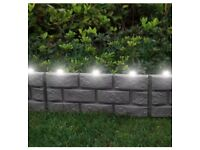 4 pack grey brick effect garden lawn path with led light