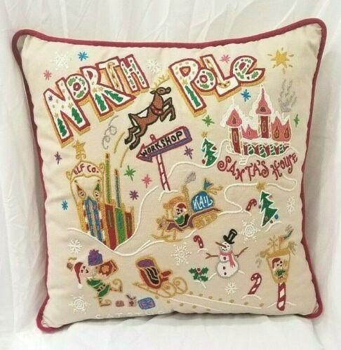 Catstudio Handmade Embroidered Pillow North Pole Santa Christmas NWT Signed 2008