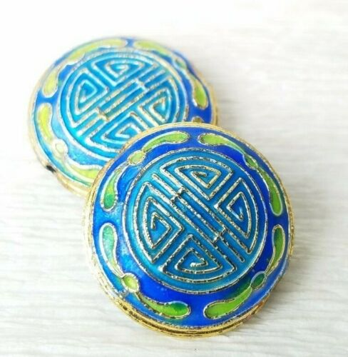 Chinese Enamel Blue Green Shou Decorated Round Coin Beads 22mm 2 Beads