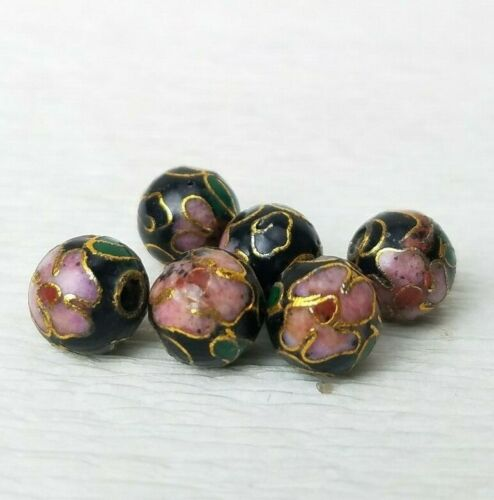 Vintage Black w/ Pink Flowers Cloisonne Chinese Enamel Round 8mm 6PCs