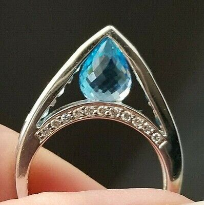 Modern Fashion Blue Topaz Diamond 18k white gold ring/band Blue Topaz White Gold Bands