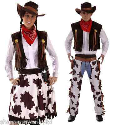 Couples Cowboy AND Cowgirl Wild West Halloween Fancy Dress Costumes Outfits](Cowgirl And Cowboy Couples Halloween Costumes)