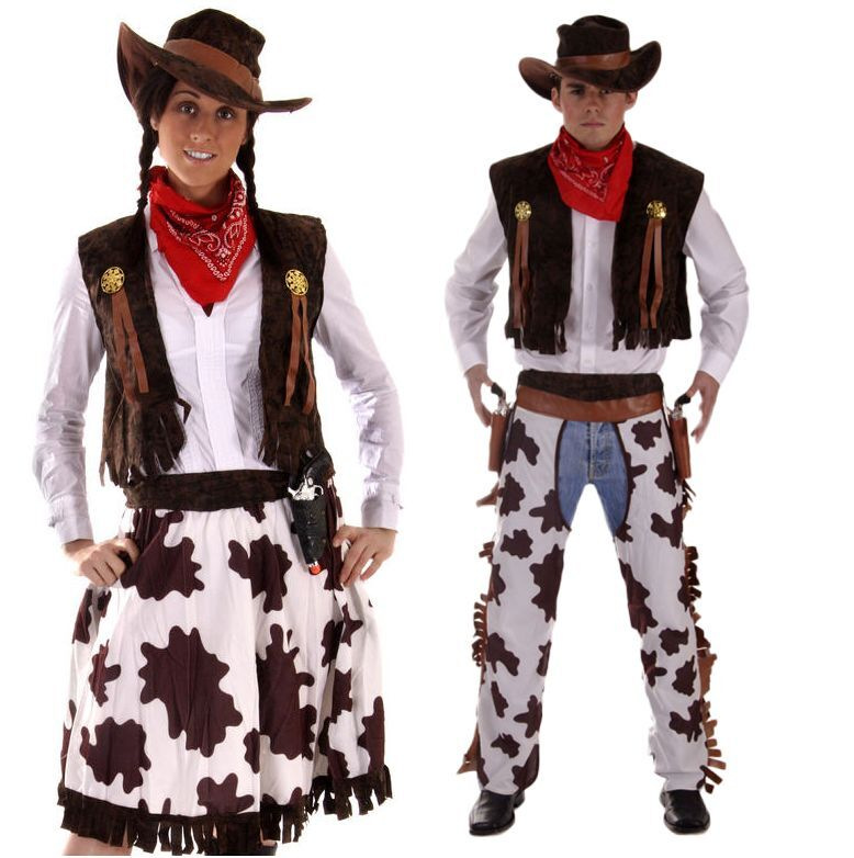 couples cowboy and cowgirl wild west halloween fancy dress costumes outfits